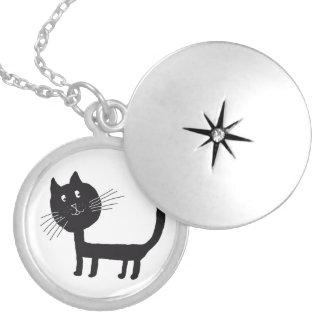 Argent moyen de chat plaqué autour du pendentif