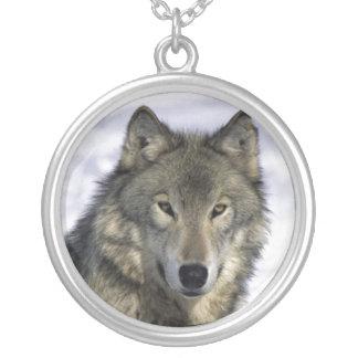 Argent Neckace de loup gris Pendentif Rond