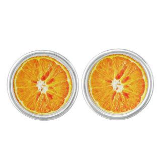 Argent orange de boutons de manchette de tranche