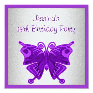 Argent pourpre lumineux de papillon de 13ème carton d'invitation  13,33 cm