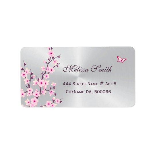 Argent rose de fleurs de cerisier florales étiquette d'adresse
