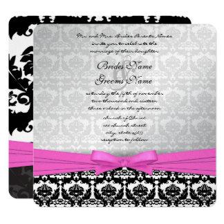 Argent rose et remous noirs de damassé épousant carton d'invitation  13,33 cm