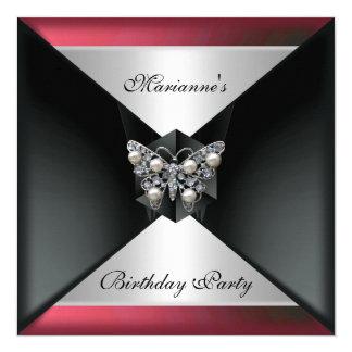 Argent rose rouge noir élégant d'anniversaire de carton d'invitation  13,33 cm
