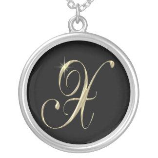 Argent sterling de collier initial de la lettre X