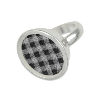 Argent sterling de plaid d'impression gris de bague