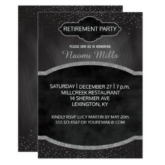 Argent vintage de tableau de partie de retraite de carton d'invitation  12,7 cm x 17,78 cm
