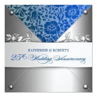 argentez les 25èmes ivnitations d'anniversaire de carton d'invitation  13,33 cm