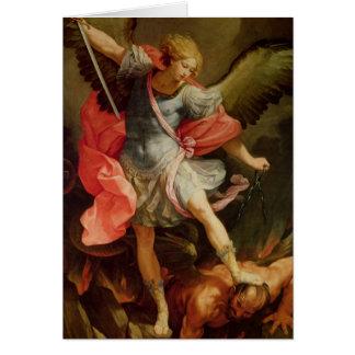 Arkhangel Michael défaisant Satan Carte De Vœux