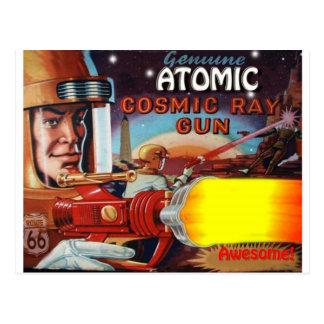 arme à feu de rayon atomique d'homme de l'espace cartes postales