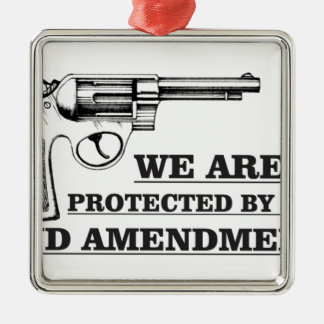 arme à feu et la 2ème ornement carré argenté