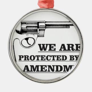 arme à feu et la 2ème ornement rond argenté
