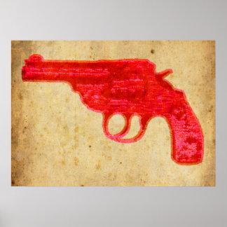 Arme à feu rouge sur l'affiche de papier vintage