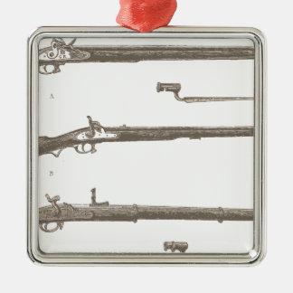 Armes à feu antiques vintages de vieux fusils de ornement carré argenté