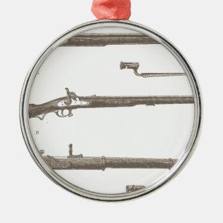 Armes à feu antiques vintages de vieux fusils de ornement rond argenté