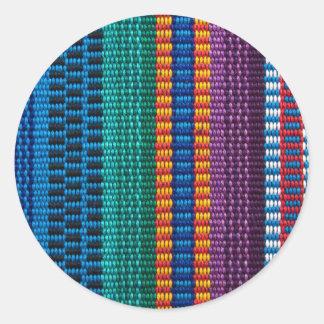 Armure traditionnelle de tissu du Guatemala Sticker Rond