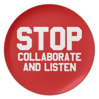 arrêtez collaborent et écoutent assiettes