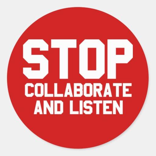 arrêtez collaborent et écoutent autocollants
