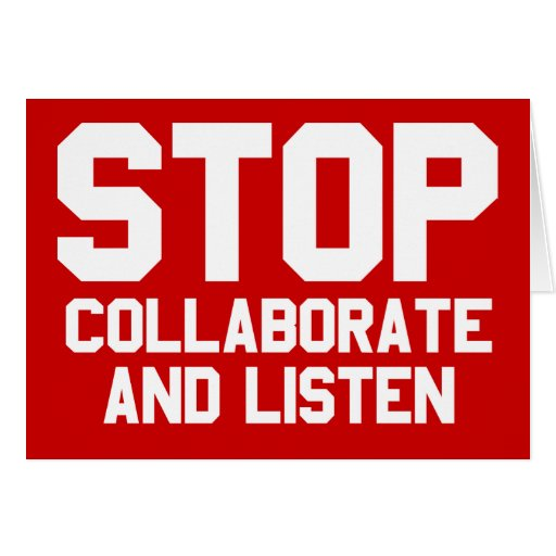 arrêtez collaborent et écoutent cartes de vœux