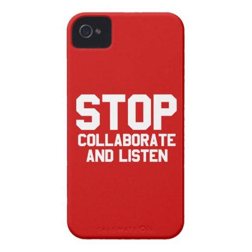 arrêtez collaborent et écoutent coques iPhone 4