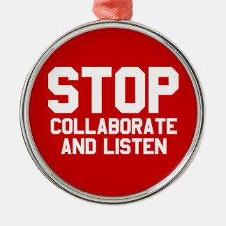 arrêtez collaborent et écoutent décoration pour sapin de noël