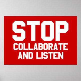 arrêtez collaborent et écoutent poster
