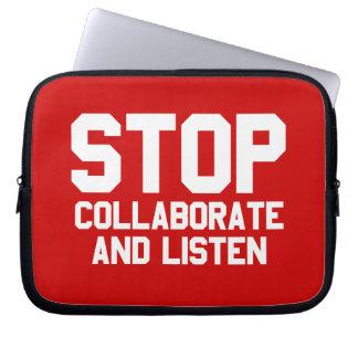 arrêtez collaborent et écoutent trousse ordinateur