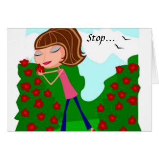 Arrêtez et sentez la carte de voeux de roses