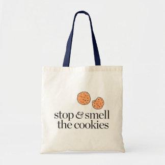 Arrêtez et sentez les biscuits sac en toile