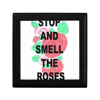 Arrêtez et sentez les roses petite boîte à bijoux carrée