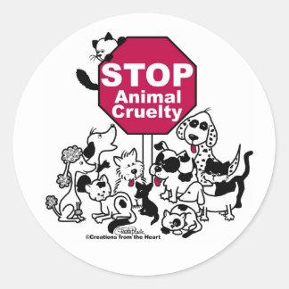 Arrêtez la cruauté animale sticker rond