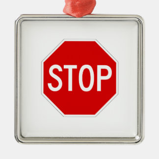 Arrêtez le signe ornement carré argenté