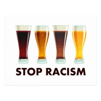 Arrêtez l'égalité de bière de racisme d'alcool carte postale