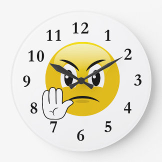 Arrêtez les mains Emoji Grande Horloge Ronde
