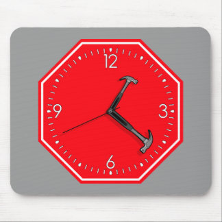 Arrêtez l'horloge de signe de temps de marteau tapis de souris