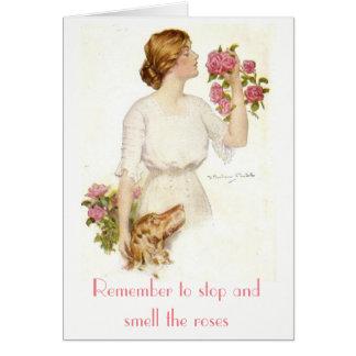 Arrêtez Madame victorienne Dog Card de roses Cartes