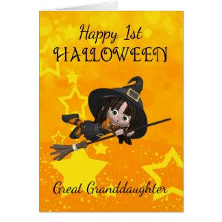 Arrière-petite-fille ęr Halloween avec petit Cartes
