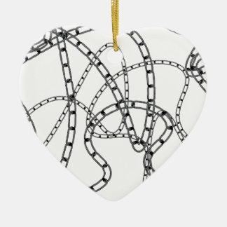 Arrière - plan à chaînes de fer ornement cœur en céramique