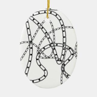 Arrière - plan à chaînes de fer ornement ovale en céramique