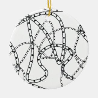 Arrière - plan à chaînes de fer ornement rond en céramique