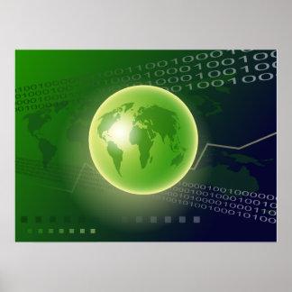 Arrière - plan binaire de globe posters
