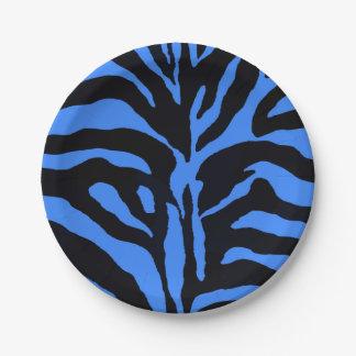 Arrière - plan bleu et noir de zèbre moderne assiettes en papier