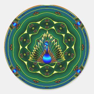 Arrière - plan bleu-vert de kaléidoscope de paon sticker rond