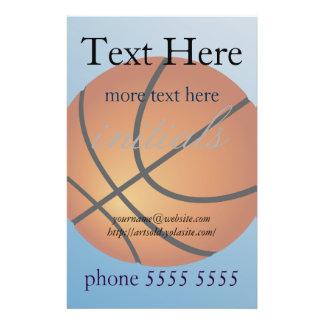 Arrière - plan de bleu d'icône de basket-ball prospectus 14 cm x 21,6 cm