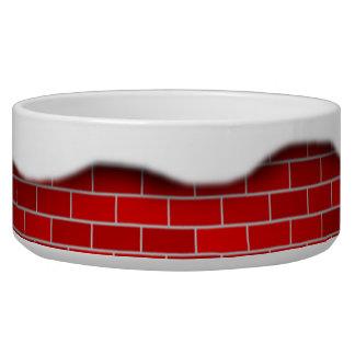 Arrière - plan de briques rouges de dérive de gamelles pour chien