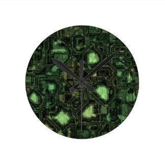 Arrière - plan de circuit d'ordinateur horloge ronde
