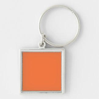 Arrière - plan de couleur de tendance personnalisé porte-clé carré argenté