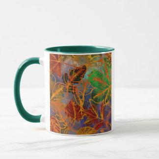 Arrière - plan de feuille d'automne d'art dans des tasse