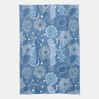 Arrière - plan de flocons de neige et d'étoiles de serviettes éponge