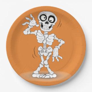 Arrière - plan de squelette de Halloween Assiettes En Papier