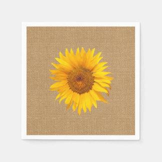 Arrière - plan de toile de jute de tournesol serviette en papier